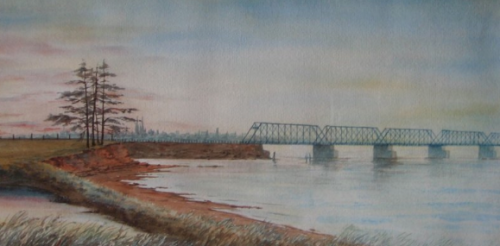 Old Hillsboro Bridge painted by Helen Haszard (1890-1970)