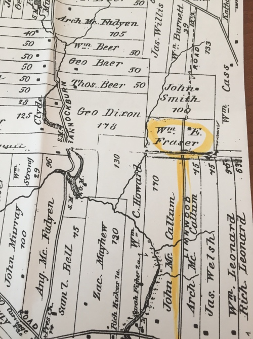 Early map showing William Fraser Farm