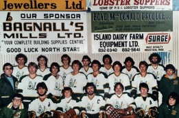 1981-82 Junior A Champs - BACK ROW: Mike Misner, Richard MacKinnon, Rodney Murray, Earl Gaudette, Donny Sheidow, Joey Shea, Curtis McIntyre; CENTRE ROW: Neil Shaw, Billy Watts, Gene Mitton, Gordy Stewart, Frank Dorrington, Randy Muttart, Windsor Wight, Bill Doherty; FRONT ROW: Robert MacKinnon, Paul MacDonald, Jamie Frizzell, Kevin Ross, Alan Andres, Geoff MacLellan, Kent MacKinnon; MISSING: Bruce MacKay