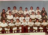 "1979-80 - BACK ROW: ""Rabbi"", Ricky MacPhee, Lowell MacPhee, Mike Kelly, Kenton Wedge, Kevin Rogers, Bruce Campbell, Jeff Hertz; CENTRE ROW: Neil Shaw, Blair MacDonald, Terry Trainor, Laurie Downe, Sanders MacIsaac, Rodney Murray, Alan Robbins, Everett Stewart; FRONT ROW: Randy Gass, Eric Caverzan, Bruce MacKay, Phillip Gass, Gary Stewart, Buddy Perry, Ricky Cameron"