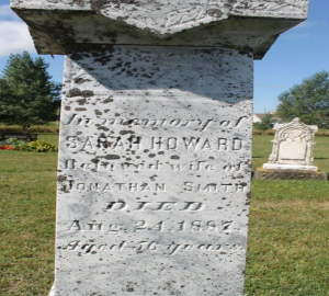 Sarah Howard's tombstone, West River United Church, formerly Cornwall United Church, Cornwall, PEI