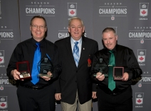 Victoria B.C.Jan. 27-2017.Canadian Junior Curling Championship.Asham Coaching Awards,(L) Men's Coach Paul Tardi (BC),Curling Canada Bill Tschirhart, Woman's coach Pat Quilty (PE) Curling Canada/michael burns photo