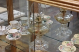 Oil lamp and tea cups